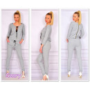 wholesale Trousers: The suit dresowy,  laced neckline, gray, S / M