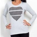 Katoenen blouse met hart, grijs unisize