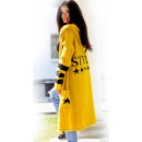groothandel Kleding & Fashion: Sweater, vest met een STIJL kap, mosterd