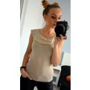 Großhandel Hemden & Blusen: Bluse mit Kragen, beige, in voller Größe
