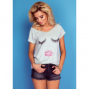 Großhandel Shirts & Tops: DE LUX T-Shirt : LASHES, Top, Dekolleté, Grau