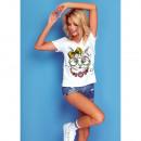 Großhandel Shirts & Tops: DE LUX T-Shirt : CAT Print, oben, locker, weiß