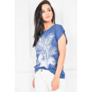 T-Shirt imprint palm leaf, blue
