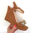 Großhandel Schuhe: Sandalen, Wedges, Frühling, Kamel