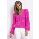 wholesale Pullover & Sweatshirts: Thick weave sweater, high quality DE LUX, pink