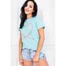 Großhandel Shirts & Tops: Asymmetrische Bluse, T-Shirt , Herz, Minze
