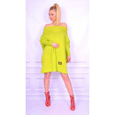 wholesale Fashion & Apparel: Long sweater,  lime, tunic, new, oversize