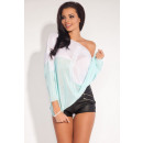 Großhandel Hemden & Blusen: Zweifarbige Bluse, asymmetrisch, blau