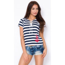 wholesale Shirts & Blouses: Blouse with tie,  manufacturer, navy blue