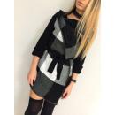 hurtownia Plaszcze & Kurtki: Płaszcz swetrowy,  krata, unisize, czarny