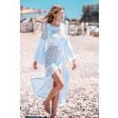 Großhandel Kleider: Durchbrochenes Festkleid DE LUX weiß