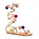 wholesale Shoes: Sandals shoes,  romanian, tied hit, camel pompon