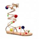 Shoes sandals Roman women, hit tied, camel pompon