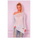 hurtownia Fashion & Moda: Sweter  asymetryczny,  wiosna, dekolt ...
