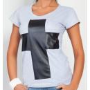 Großhandel Shirts & Tops: T-Shirt mit einem  Kreuz, Bluse, graue unisize