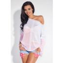 Großhandel Hemden & Blusen: Zweifarbige Bluse, asymmetrisch, pink