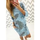 Italienisch Kleid,  Baumwolltunika, blau, uni