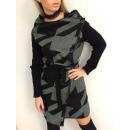 hurtownia Plaszcze & Kurtki: Płaszcz swetrowy,  wzór, unisize, pasek, szary