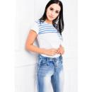 ingrosso T-shirts & Tops: T-Shirt, righe da  marinaio, da tasca, bianco