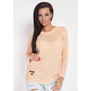 Großhandel Fashion & Accessoires: Pullover dünn mit Löchern, Frühling, Aprikose, S /