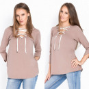 Großhandel Hemden & Blusen: Bluse, gebunden, doppelseitig, Cappuccino