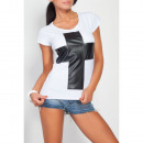 wholesale Shirts & Tops: T-Shirt with a  cross, blouse, white, unisize