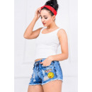 wholesale Jeanswear: Jeans shorts marbling badges