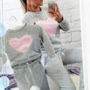 Großhandel Kinder- und Babybekleidung: Sweatshirt für Baby, Herz, grau, rosa