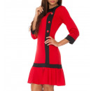 Dress with buttons, red, all sizes
