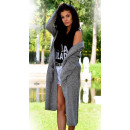 wholesale Pullover & Sweatshirts: Sweater with a hood, long, coat, gray