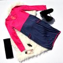 grossiste Vetement et accessoires: Robe, deux couleurs, poches, roses, bleu marine