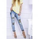 Jeans boyfriend, clear holes for legs
