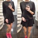 Großhandel Kleider: Kleid, Tunika mit Volant, schwarz, unisize