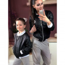 wholesale Childrens & Baby Clothing: Bomber jacket, mom and baby, black