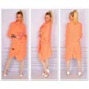 Großhandel Fashion & Accessoires: Lange Pullover  Mantel, Bettdecke, Pfirsich, uni
