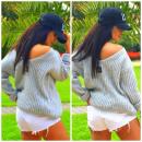 Sweter, ciepły, gruby, oversize, jakość, szary