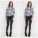 Soft sweatshirt, camouflage motief, grijs