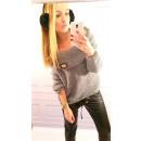 hurtownia Fashion & Moda: Sweter, miękki,  jakość, złota blaszka, szary, uni