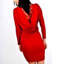 Großhandel Kleider: Kleid, Gießen Ausschnitt, spitze, rot