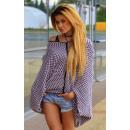 hurtownia Fashion & Moda: Kardigan luźny,  ponczo, sweter oversize, różowy