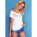 wholesale Shirts & Tops: T-Shirt DE LUX: FLOWERS, top, cleavage, white