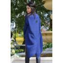 hurtownia Fashion & Moda: Długi sweter,  płaszcz, narzuta, granatowy, unisize