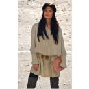 Dikke trui, vleermuis, oversized, zand beige
