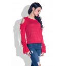Großhandel Hemden & Blusen: Bluse, lange Ärmel, Bindungen, rot