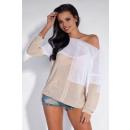Großhandel Hemden & Blusen: Bluse zweifarbige, asymmetrische, beige