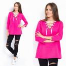 Großhandel Hemden & Blusen: Bluse, gebunden, doppelseitig, magenta