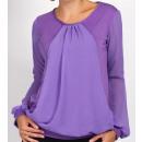 grossiste Chemises et chemisiers: Mousseline de soie blouse, pourpre, grande taille,