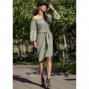 wholesale Dresses: Dress with belt, producer, olive, DE LUX