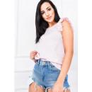 Großhandel Hemden & Blusen: Bluse, ärmellos, Rüschen, uni, rosa