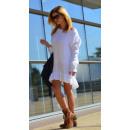 Großhandel Kleider: Pullover, Pulloverkleid, Volant, weiß, ...